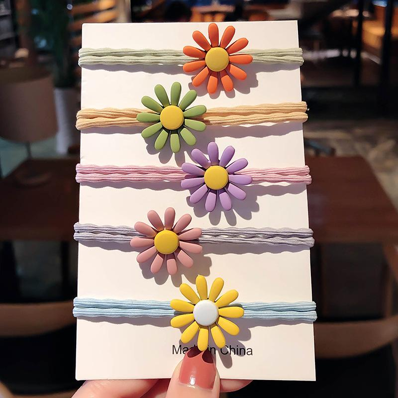 Matte Colored Daisy Double Hair Tie