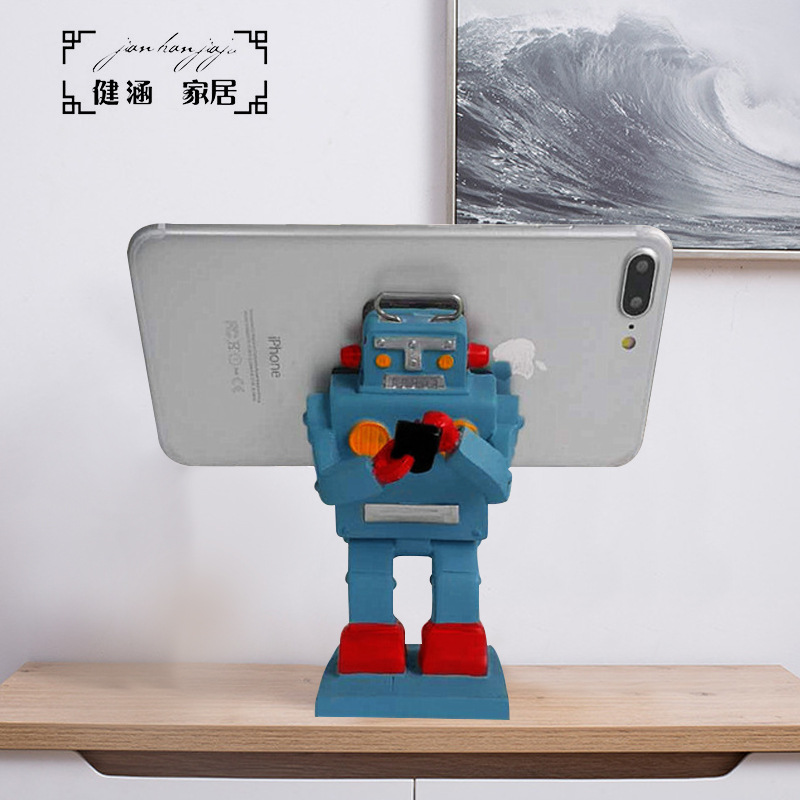Classic Resin Robot Phone Holder for Any Smartphone Gadgets