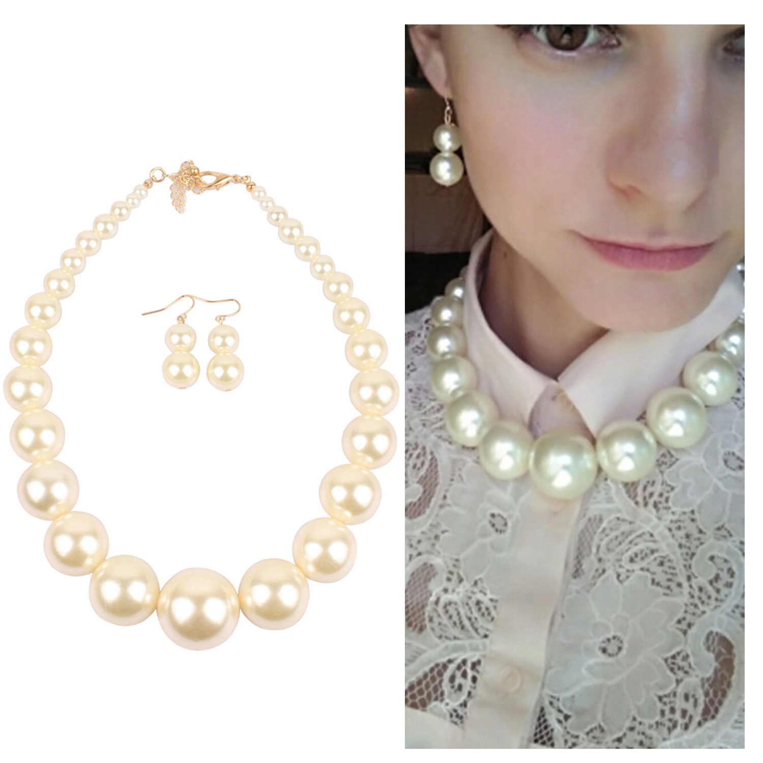 Shiny Colored Faux Pearl Necklace and Earrings for Classy Looks