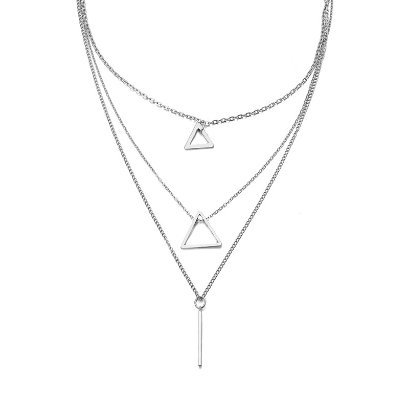 Shapes and Chains Silver Multi-Layer Necklace