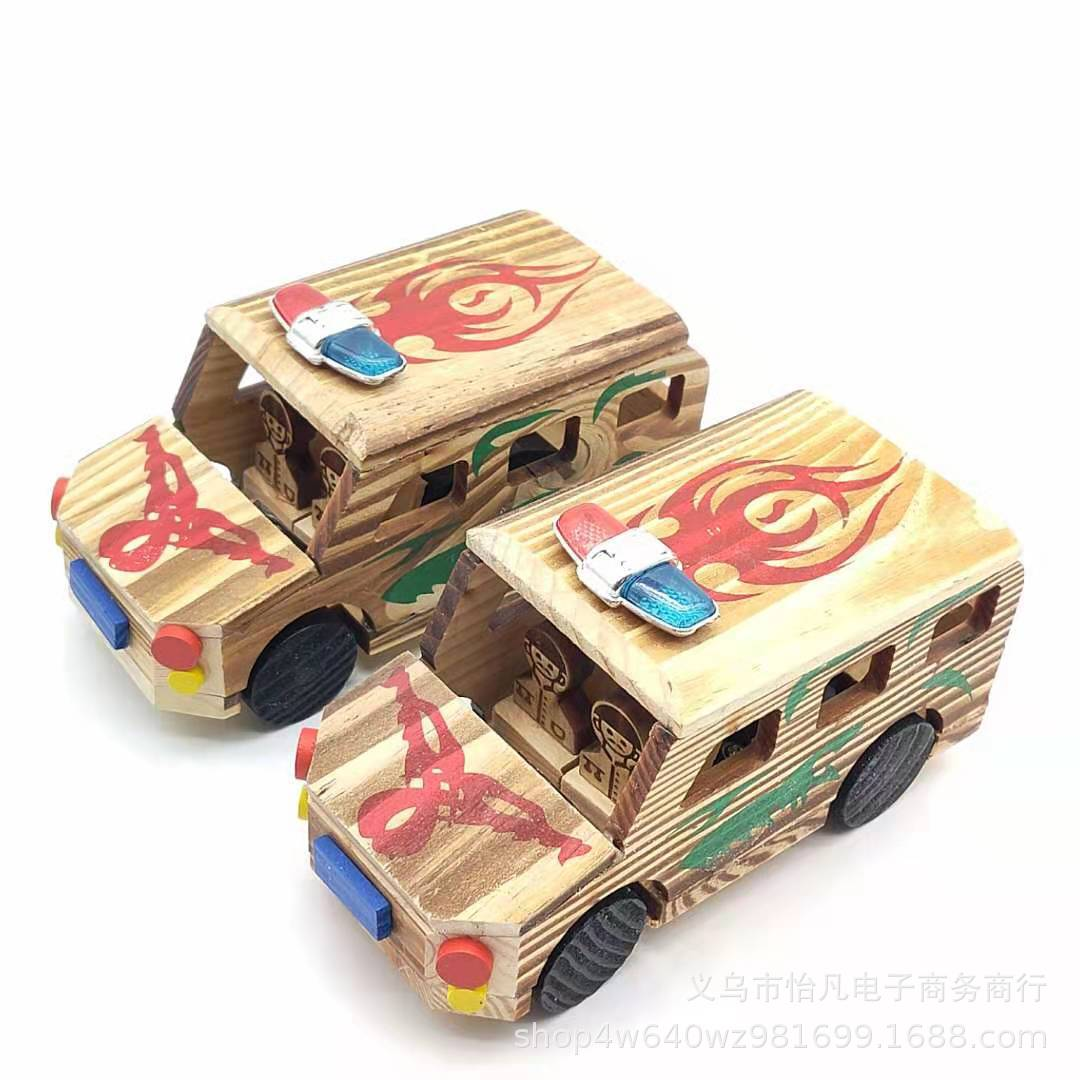 Wooden Children's Toy Police Car for Imaginative Play
