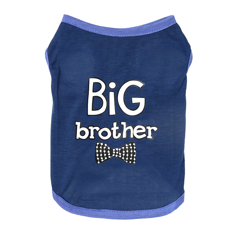 """Two Shades of Blue Pet Shirt with """"Big Brother"""" Statement for Pets Everyday Wear"""