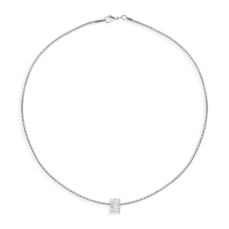 Candie Silver Crystal Choker
