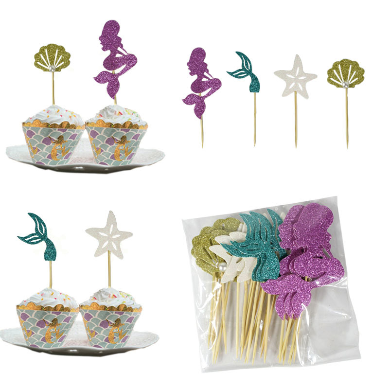 Mermaid Party Cupcake Decoration for Princess-Themed Party