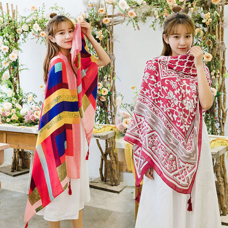 Festive Prints with Tassel Scarf for Air-Conditioned Rooms