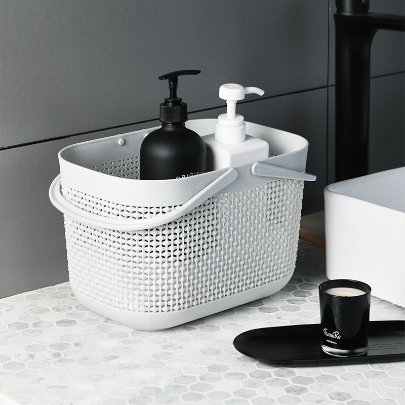 White and Gray Toiletries Basket with Handle