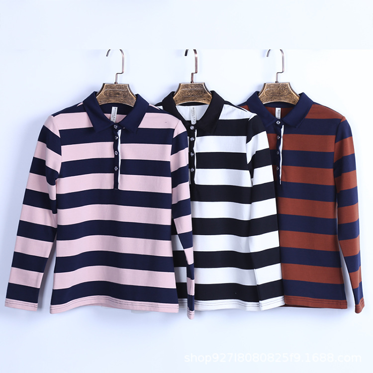 Rustic Striped Long-Sleeved Polo Shirt for Autumn Wear
