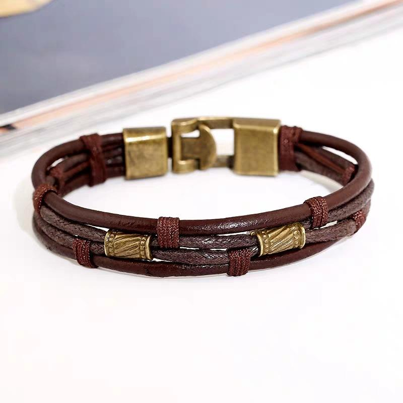Retro Brown Layered Leather Bracelet
