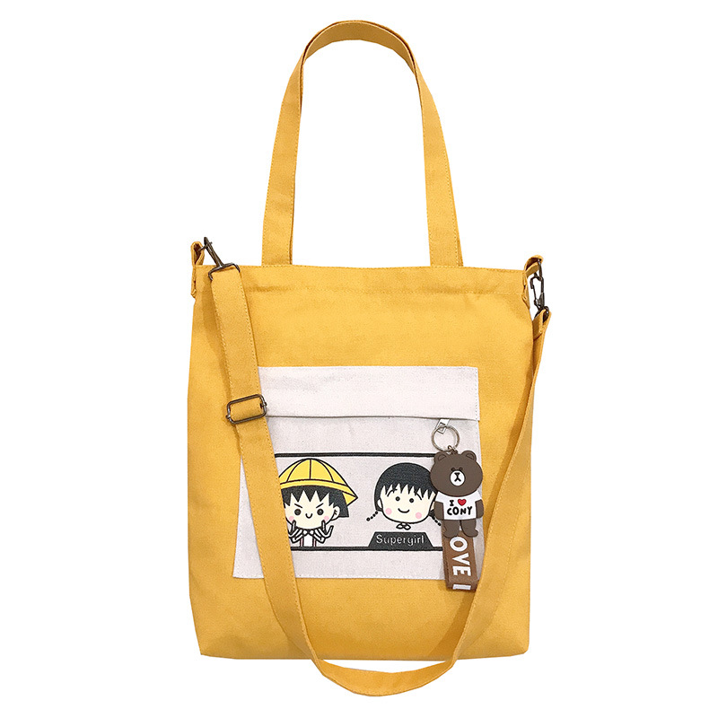 Attractive Two-Toned Multi-Pocket Canvas Bag for Shopping Outfits