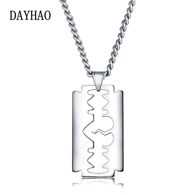 Well-Carved Blade Dog Tag Chain Necklace for Military Style Outfits
