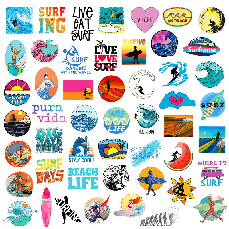 Beach and Surfing Sticker (50 Pieces/Set)