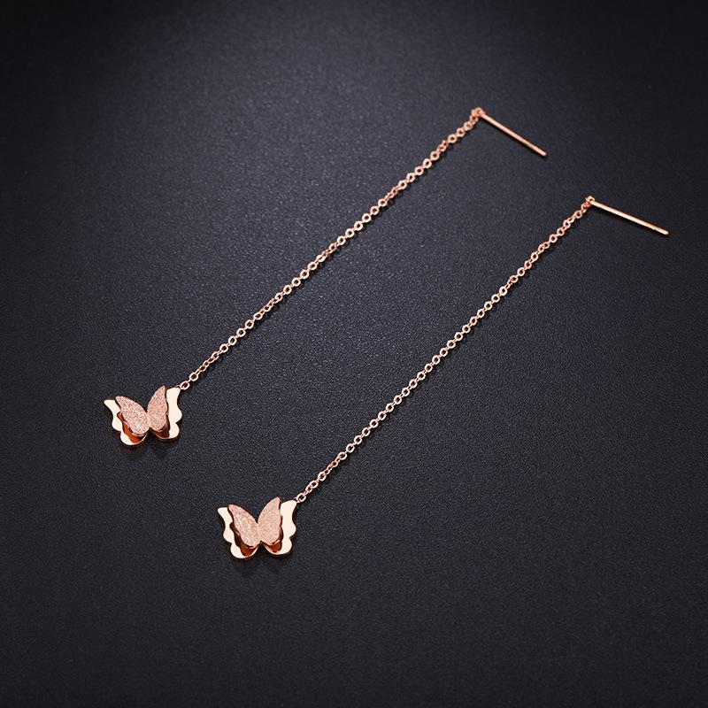 Glittery and Classic Butterfly Drop Earrings