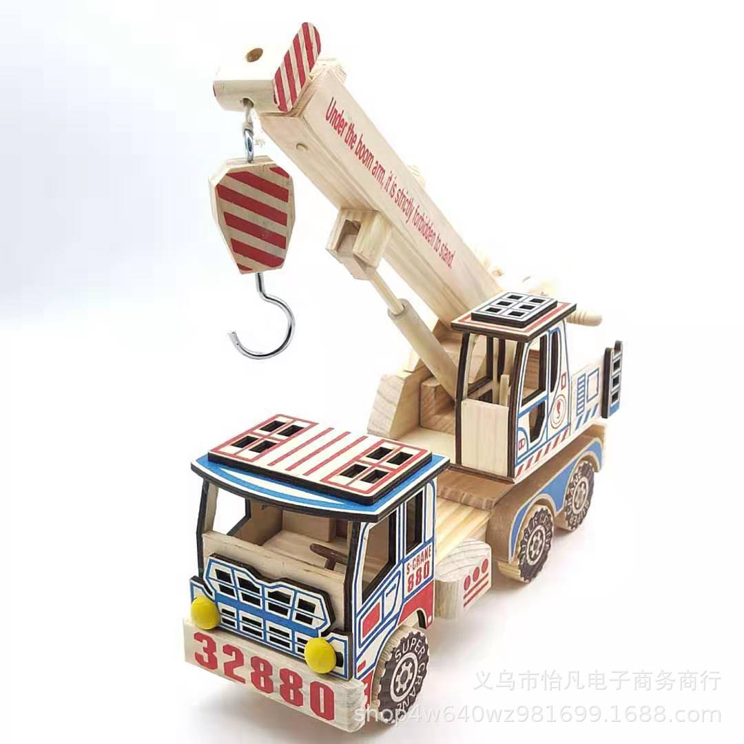 Creative Wooden Truck Crane Model for Gifting to Children