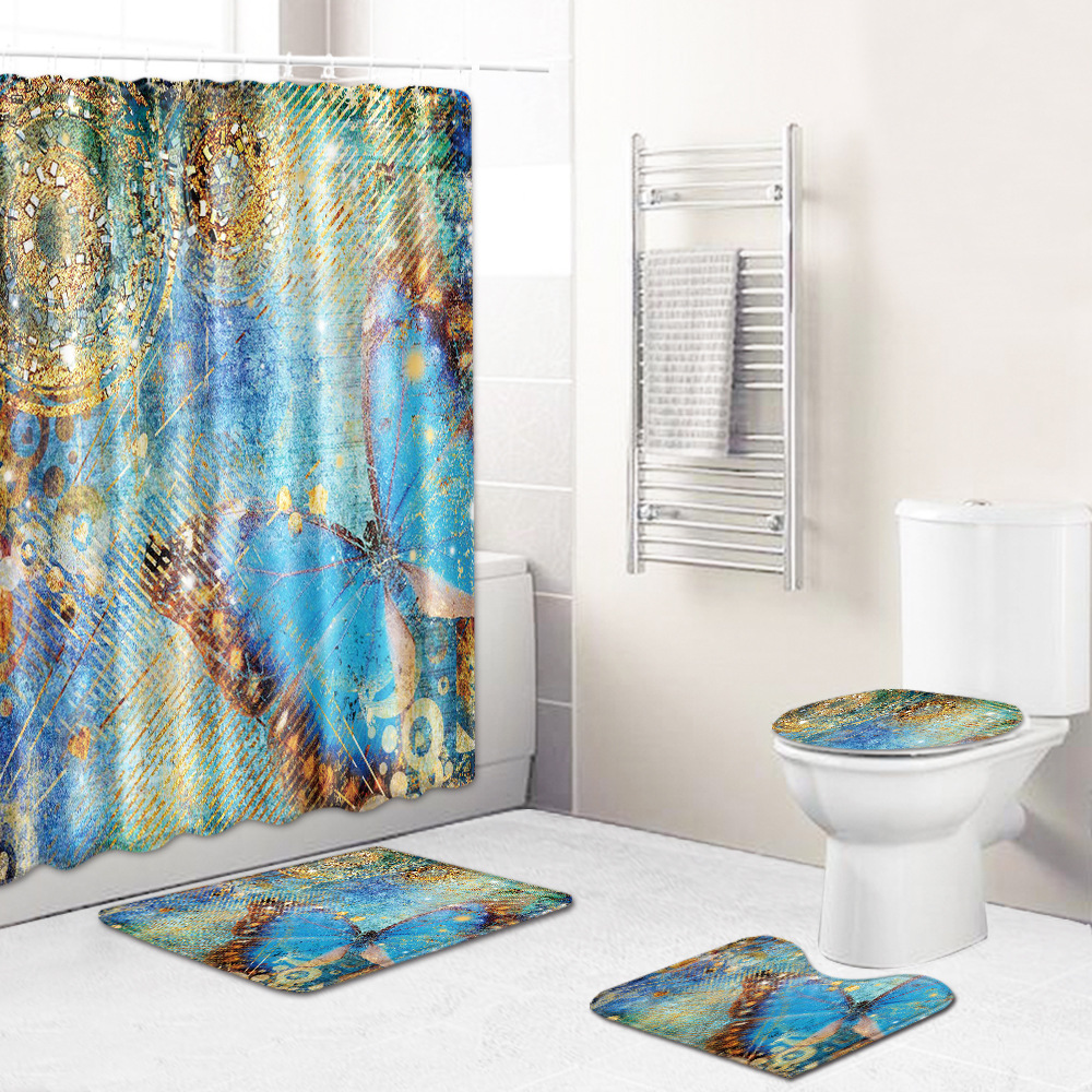 Dainty Design Non-Slip Toilet Mat with Shower Curtain for Neat Bathroom