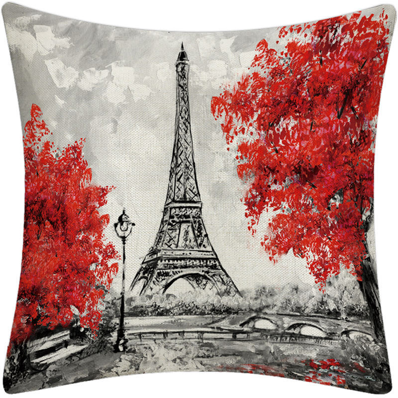 Red Trees in B&W City Pillowcase for Pillows