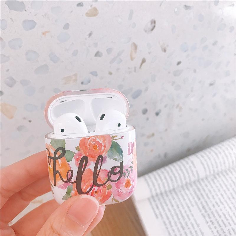 HELLO Watercolor Flower AirPods Case