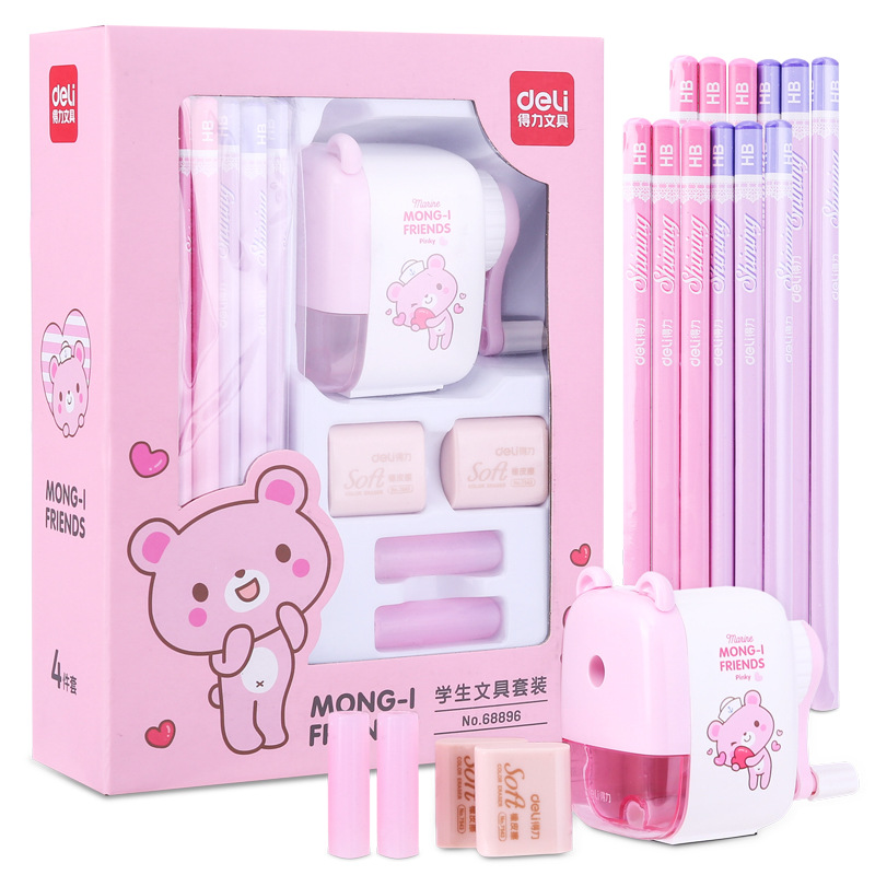 Cute Pencil and Sharpener Set for Kids Who Go to School