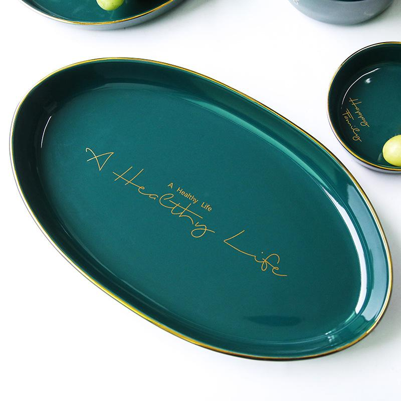 Happy Family's Teal Oval Platter for Serving Dishes Glamorously