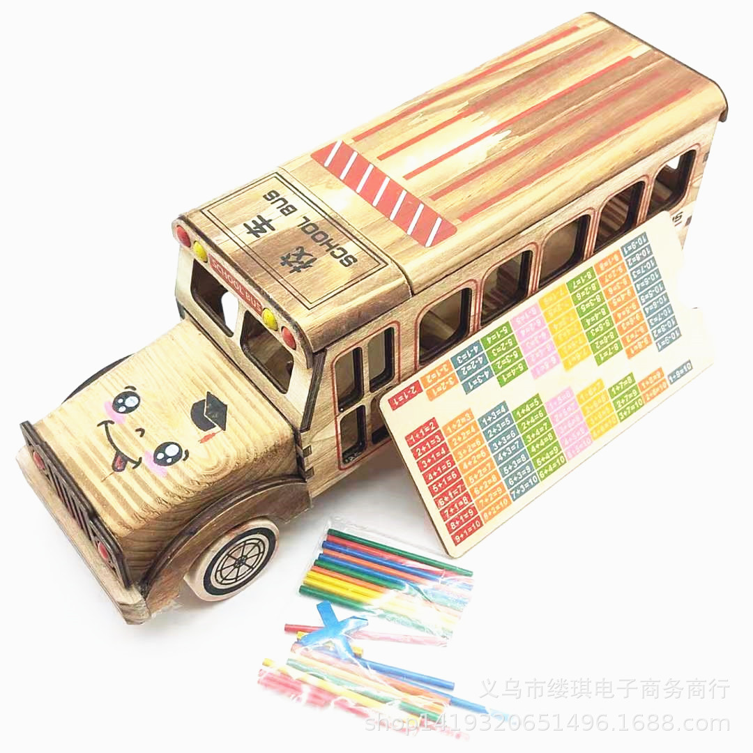 Educational Wooden School Bus Toy for Teaching Math to Children