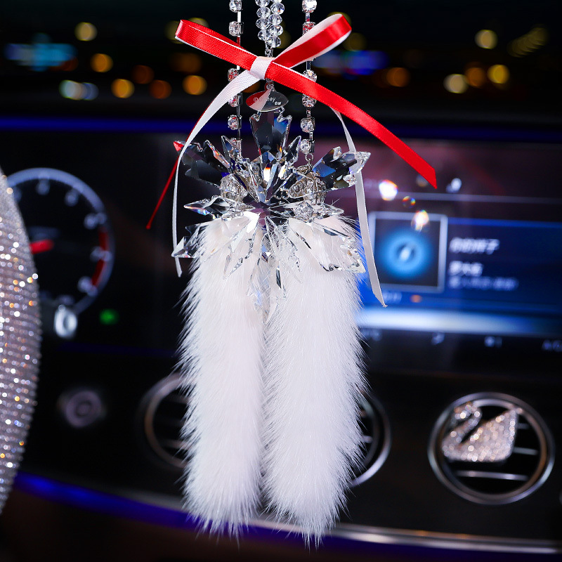 Faux Crystal Snowflakes Design Car Pendant for Rearview Mirror Display