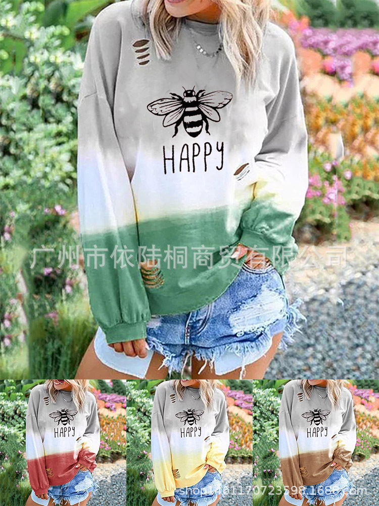 Hip Ragged Pullover with Rip Designs for Lounging at Home