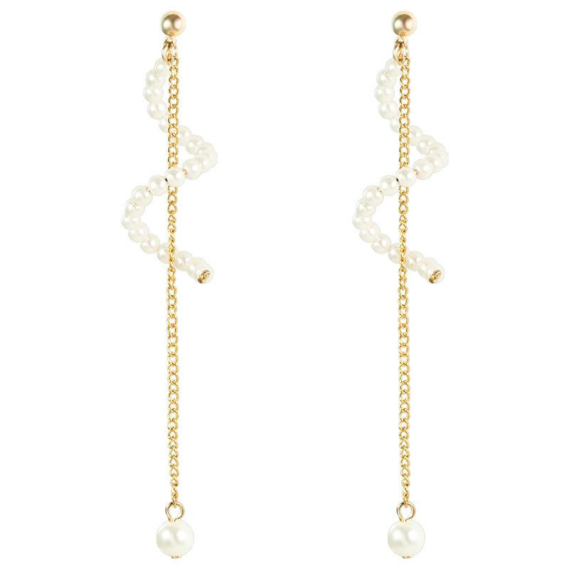 Pearl Wave and Chain Long Earrings