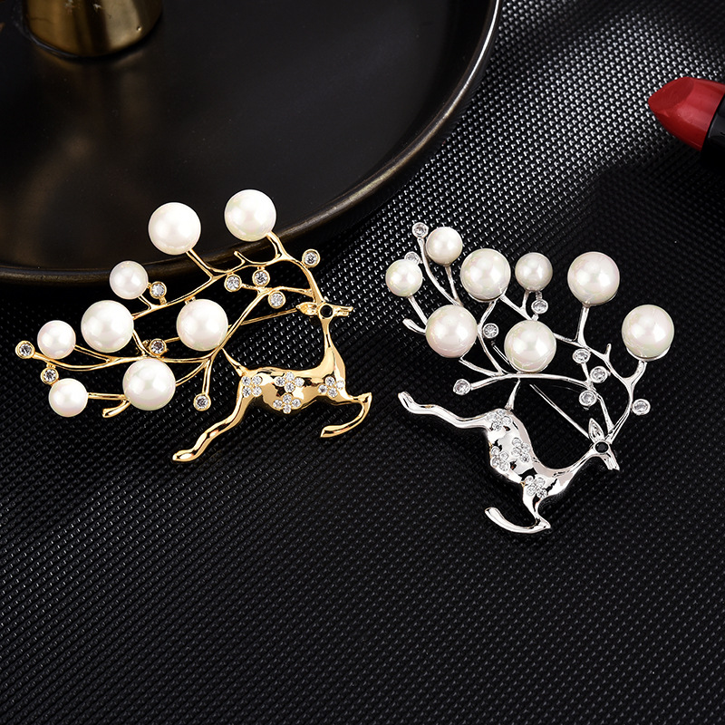 Prancing Faux Pearl Antler Reindeer Pin for Holiday Events