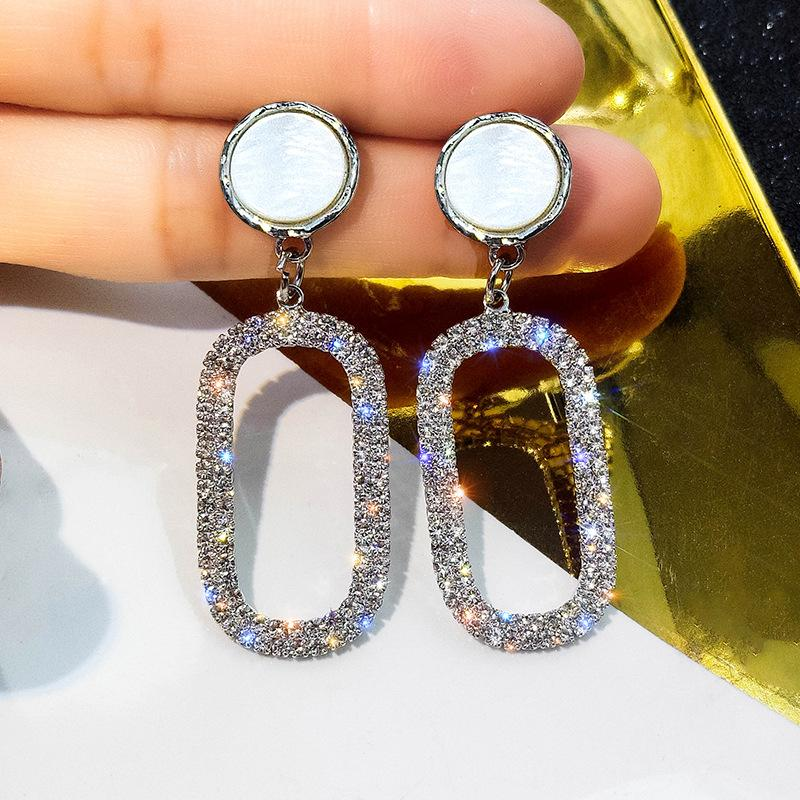 Oval and Circle Crystal Earrings