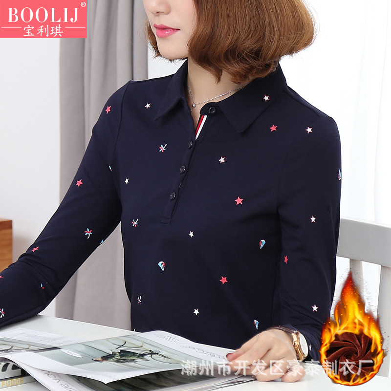 Pretty Long-Sleeved Star Print Cotton Spandex Polo Shirt for Autumn and Winter Wear