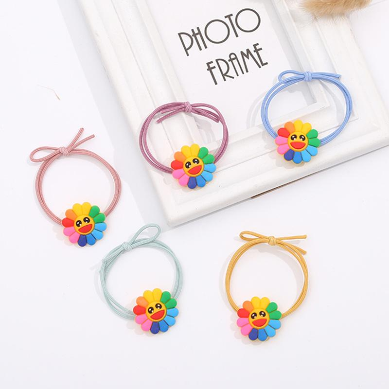 Smiling Rainbow Sunflower Hair Tie