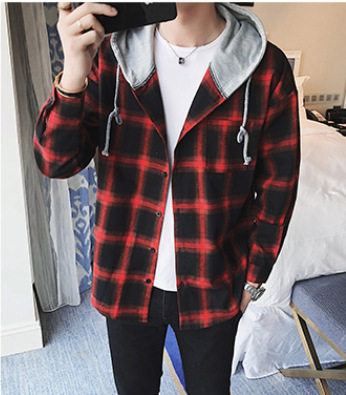 Plaid Polyester Fiber Buttoned Hoodie for College Guys