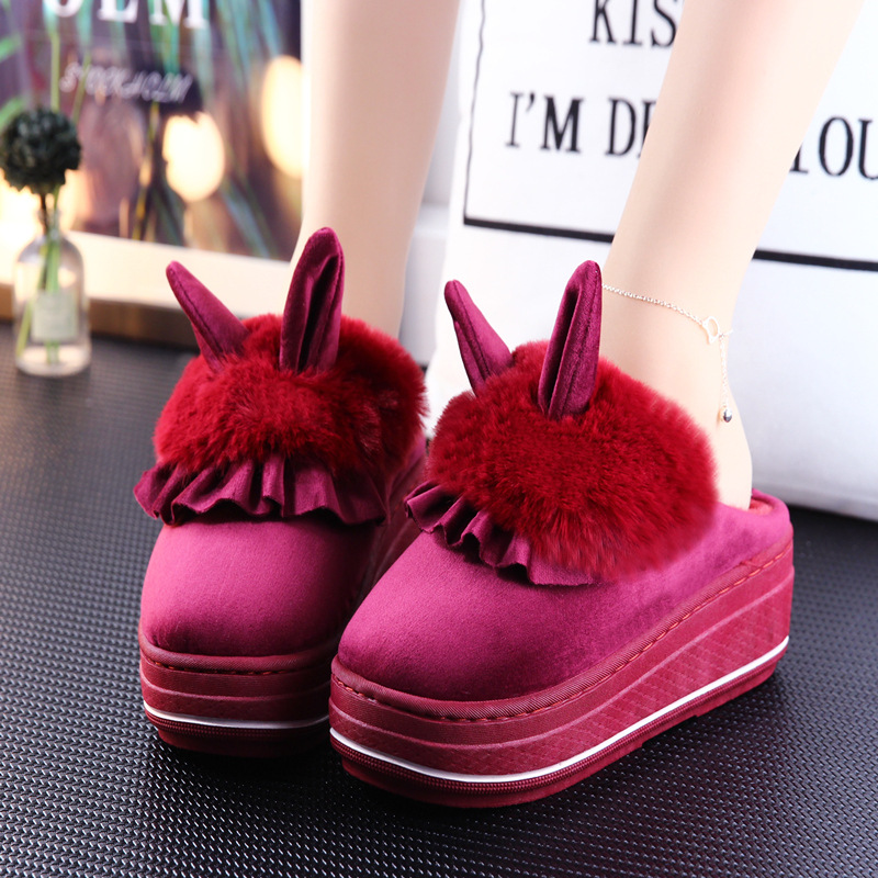 Adorable and Fluffy Rabbit Ear High-Heel Slippers for Cute Footwear