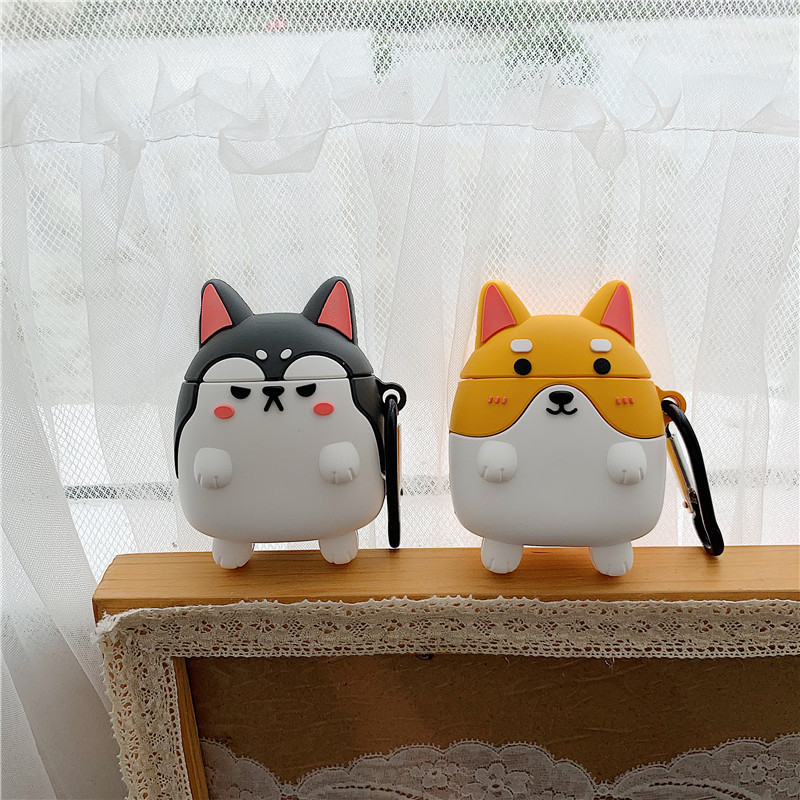 Smiling Corgi and Angry Husky Airpods Cases