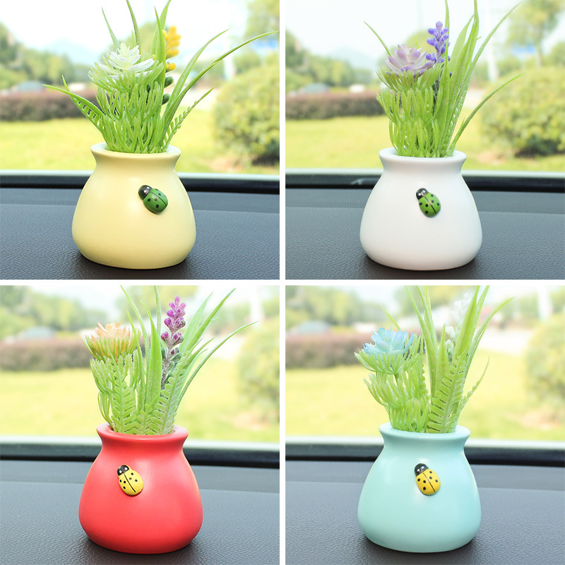 Pretty Simulation Flower Ornament with Vase for Car Decoration