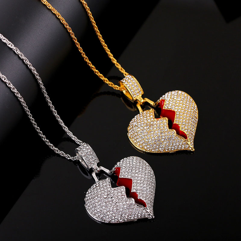 Alloy Broken Heart Pendant Necklace with Faux Diamonds for Your Glamorous First Step for Moving On