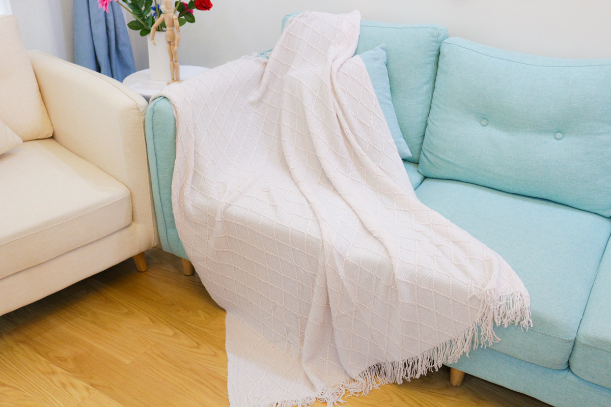 Knitted Classic Diamond Plaid Blanket for Sofa