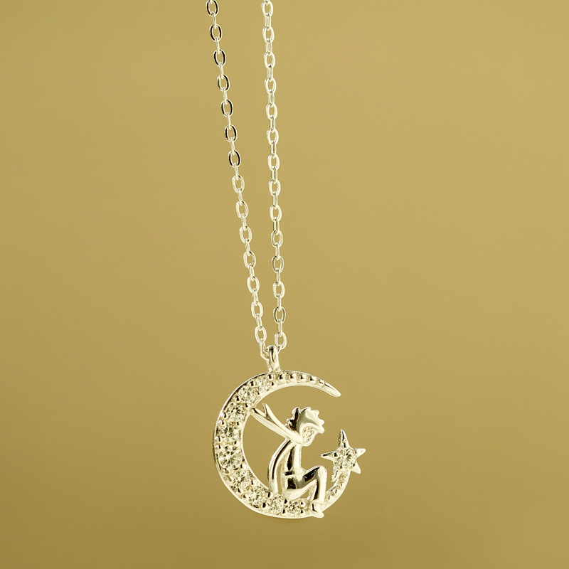 Cute Silver Cable Chain Necklace with Moon Boy Pendant for Gifting