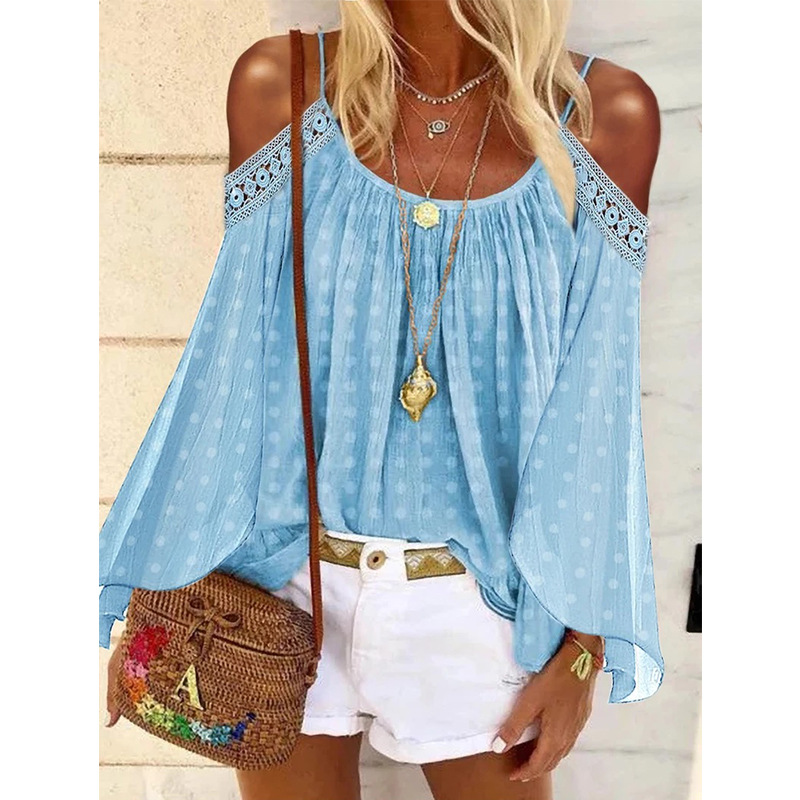 Bohemian Cold Shoulder Long Sleeves Top for Summer Parties