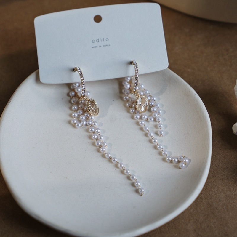 Moriz Coin and Faux Pearl Earrings