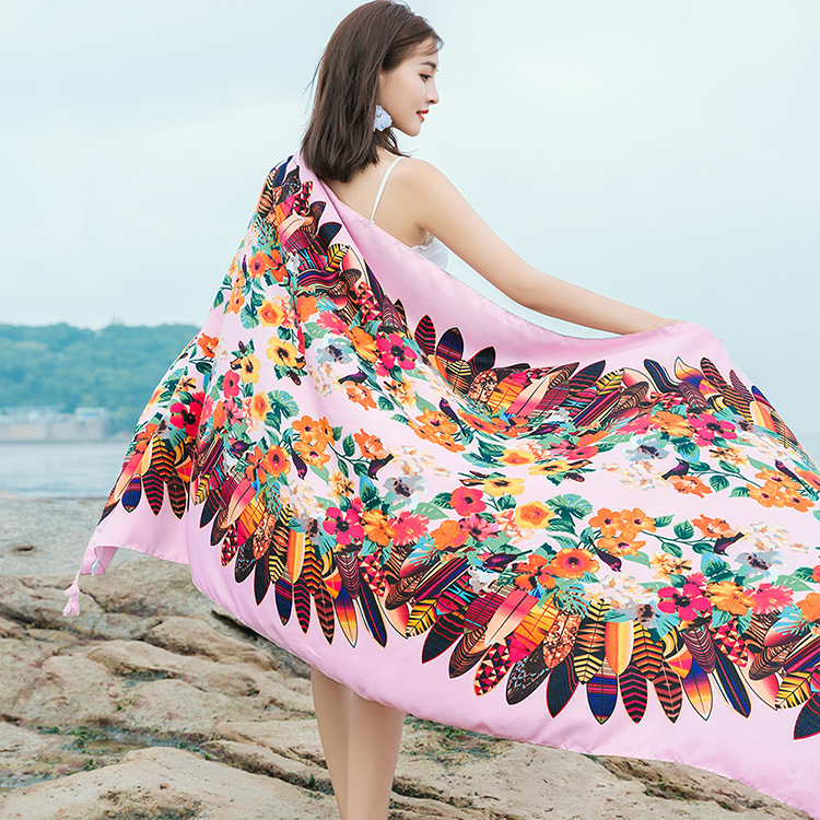 Colorful Floral Printed Shawl for Sunscreen Accessories