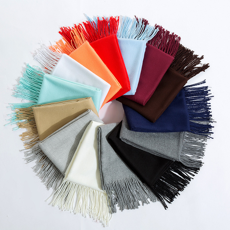 Solid Color Scarves with Ample Fringes for Lightweight Use