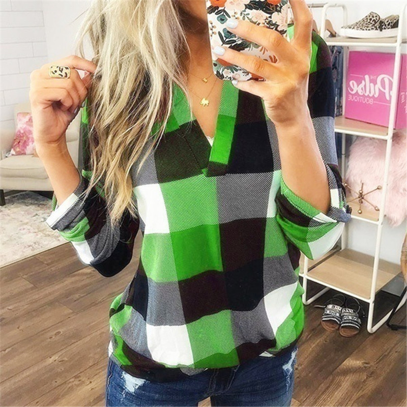 Classic Plaid V-Neck Long Sleeve Top for Women
