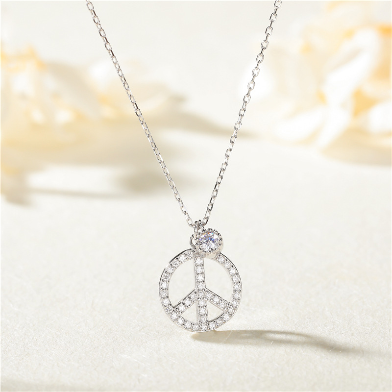 Bedazzled Hippie Peace Sign Necklace