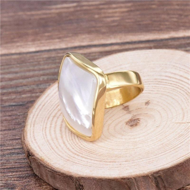 Square Pearl Side Ring