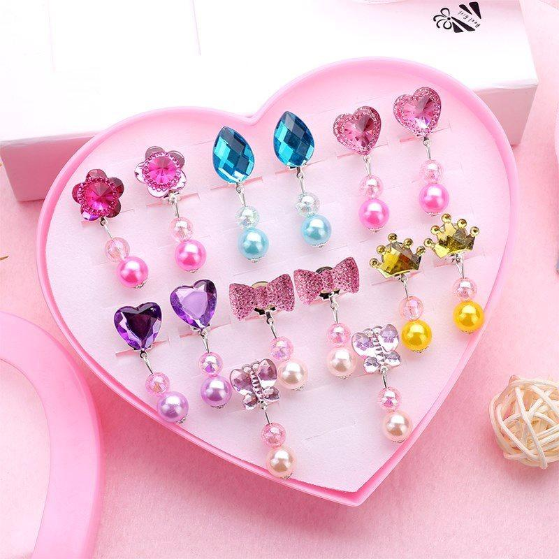 Little Princess Plastic Clip-on Earring Collection (Designs Vary Per Set)