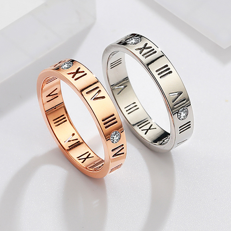 Plated Simple Ring Designed with Carved Roman Numerals for Gift Idea