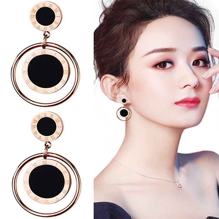 Exquisite Stainless Steel Dangling Earrings for Nights Out Party