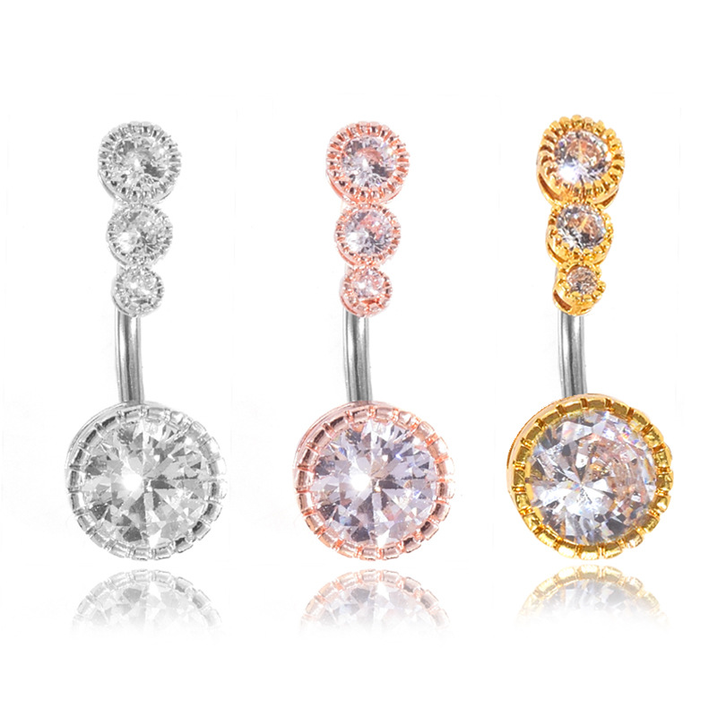 Crystal Circles Belly Button Jewelry