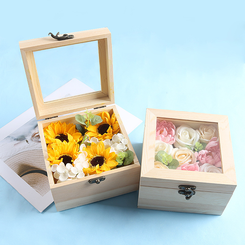 Rose Soap in Wooden Gift Box Set