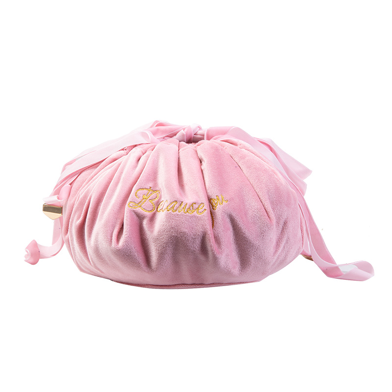 """""""Because of you"""" Velvet Drawstring Cosmetic Bag for Organized Make Up Items"""